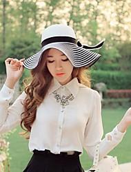 Women's Wide Brim Stripes Bow Floppy Beach Boho Straw Sun Hat