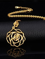 U7® Hollow Rose Necklace 18K Real Gold Platinum Plated Rhinestone Romantic Pendant Necklace Fashion Jewelry