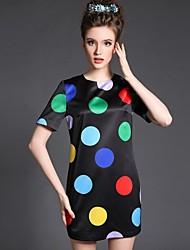 2015 New Fashion Women's Vintage Classics Colorful Dot Print Plus Size Short Sleeve Slim Dress