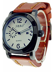 Men's Sports Leisure Waterproof Watch Calf-Leather Band (Assorted Colors)