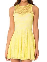 Women's Solid/Lace Blue/Yellow/Purple Dress , Lace Crew Neck Sleeveless