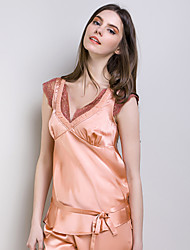 Women Orange V-neck Pajamas with Sex Appeal Short Sleeve Pajamas Suit of 100% Heavy Silk Fabric with Delicate Lacework