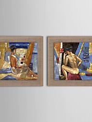 картина маслом современный набор абстрактный характер 2 ручной росписью натурального льна с растянутыми кадра