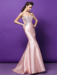 Formal Evening Dress - Pearl Pink Plus Sizes / Petite Trumpet/Mermaid Sweetheart Sweep/Brush Train Satin