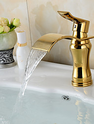 Contemporary Waterfall Brass Ti-PVD Bathroom Sink Faucet - Golden
