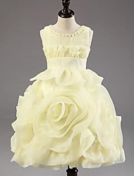A-line / Princess Tea-length Flower Girl Dress - Chiffon / Polyester Sleeveless Jewel with