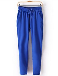 Women's Elastic Waist Candy Color Leisure Pants