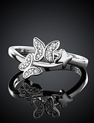 Fashion Butterfly Silver Plated Silver Copper Ring (Silver)(1Pc)