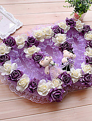 "21.7"" Rural Style Deep Purple White Double Heart Shaped Simulation Flower Garland with Toy Bears Plastic Flower Garland"