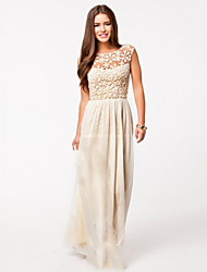 Women's Round Neck Lace/Pleated Dress, Chiffon/Mesh Maxi Sleeveless