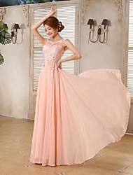 Prom / Formal Evening / Holiday / Family Gathering Dress - Lace-up / Beautiful Back / Elegant A-line Scoop Floor-length Chiffon with Lace
