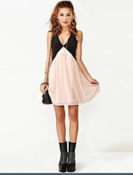 Shangying Women's Sleeveless Slim Fashion V-Neck Strap Contrast Color Backless Dress