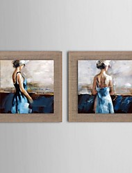 Oil Painting Modern Ballet People Set of 2 Hand Painted Natural linen with Stretched Frame