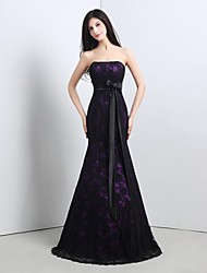 Formal Evening Dress Trumpet / Mermaid Strapless Floor-length Lace with Lace