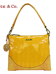 Kate&Co Women's Yellow Pvc Italian Style Luxury Mirror Surface Shoulder Bag