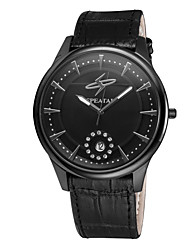Men's Business High Quality Genuine Leather Waterproof Dress Quartz Wrist Watch with Single Calendar Silver/Black