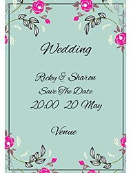 Personalized 50pcs/Lot 19cm x 16cm Wedding Invitations Red Flower Blue Save The Date Paper Card