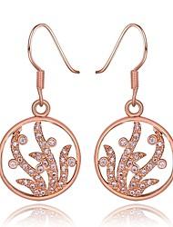 Fashion Circle Diamante Geometric Rose Gold Rose Gold-Plated Drop Earrings(Rose Gold)(1Pair)