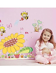 Wall Stickers Wall Decals, Style Sunflower And Bee PVC Wall Stickers