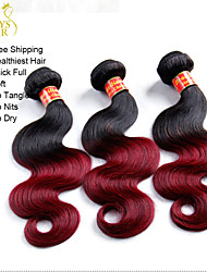 """4 Pcs Lot 14""""-28"""" Ombre Brazilian Body Wave Virgin Remy Human Hair Extensions/Weaves 2 Two Tone Burgundy Wine Red 1B/99J"""