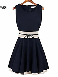 NUO WEI SI ® Women's New Style Contrast Color Ruffle Sleeveless Dress