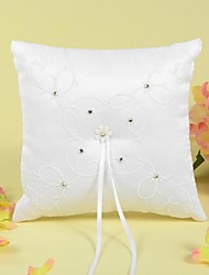 Ring Pillow In Satin With Ribbons/Rhinestones/Embroidery