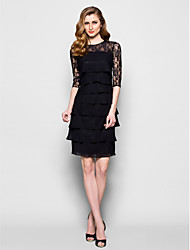 Lanting Sheath/Column Plus Sizes / Petite Mother of the Bride Dress - Black Knee-length Half Sleeve Chiffon / Lace