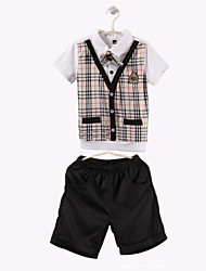 Boy's Cotton Clothing Set,Summer / Spring / Fall Check