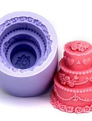 Three Layer Cake Shaped  Fondant Cake Chocolate Silicone Mold, Decoration Tools,L6cm*W6cm*H6.4cm
