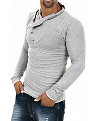 Herrenmode Rampentaste Kragen Langarm-T-Shirt Figur (Baumwolle)