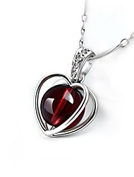 Fashion Shining Ladies' Silver Necklace With Red Garnet & Crystal Heart Shape