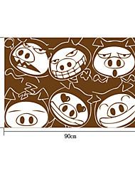 милые коричневые свиньи сталкиваются ПВХ стены стикеры