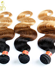 3 Pcs Lot 14-28 Ombre Brazilian Virgin Hair Extensions Body Wave Three Tone Black Brown Blonde 1B/4/27# Human Hair Weave