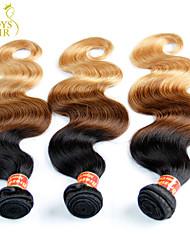 "3 Pcs Lot 14-28"" Ombre Eurasian Virgin Hair Extensions Body Wave Three Tone Black Brown Blonde 1B/4/27# Human Hair Weave"