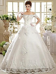 Ball Gown Wedding Dress Floor-length Off-the-shoulder Lace with
