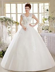 Ball Gown Floor-length Wedding Dress -V-neck Lace