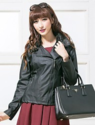 Women's Faux Fur Collar Casual Long Sleeve Leather Coat