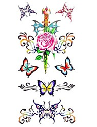 1pc Waterproof Women's Temporary Tattoos Back/Wrist/Neck Tattoos Butterfly Rose Collections Body Tattoos(18.5*8.5cm)