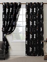 One Panel Black Floral Jacquard Curtain