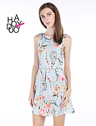haoduoyi® Women's Light Blue Floral Print Dress