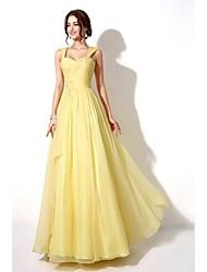 Formal Evening Dress - Watermelon / Daffodil A-line Sweetheart Floor-length Chiffon