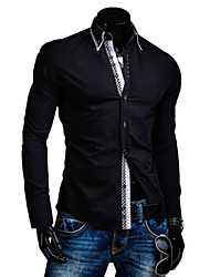 White Men's Fashion New Contrast Color Causal Check Long Sleeve Shirt