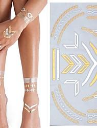 1PC New Metallic Gold Tattoos Small Temporary Tattoos Sticker Flash Tattoos Wedding Party Tattoos(25*15.5cm)