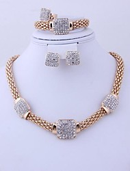 Hot Sale African Costume Rhinestone Gold Plated (Including Necklace, Earring, Bracelet, Ring) Jewelry Sets