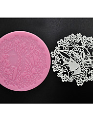 FOUR-C Baking Supplies Sweet Lace Mat Silicone Mold for Cake Making,Silicone Mat Fondant Cake Tools Color Pink