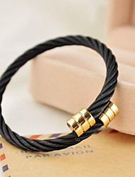 Fashion Men's Black Stainless Steel Cable Bangle