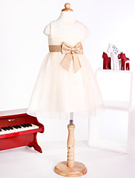 Flower Girl Dress Tulle Fabric Jewel Sleeveless Tea-length Dress