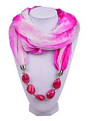 D Exceed   Women Magic Design Infinity Ring Scarf with Rose Red Irregular Brush Painting Beads Pendant Scarfs