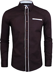 story,Men's Vintage/Casual/Party/Work Joining together color Long Sleeve Casual Shirts (Cotton/Rayon)