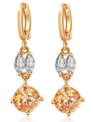 QB Woman's Fashion Crystal Gold Pendant With CZ  Earrings ER0521